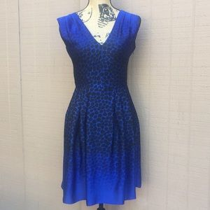 Sz 0 Ann Taylor Loft Black Blue Dress EUC